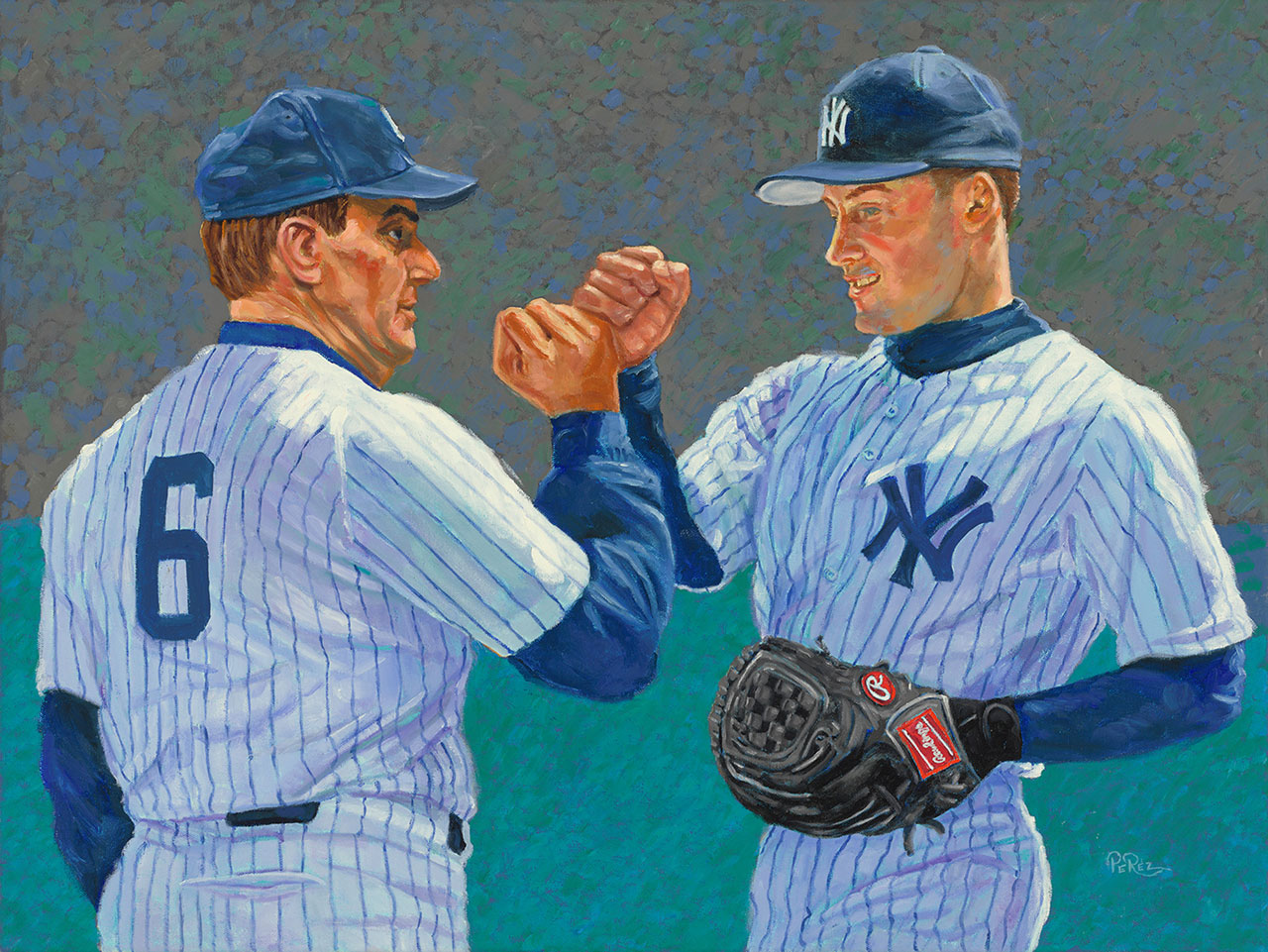 Joe Torre and Derek Jeter Large